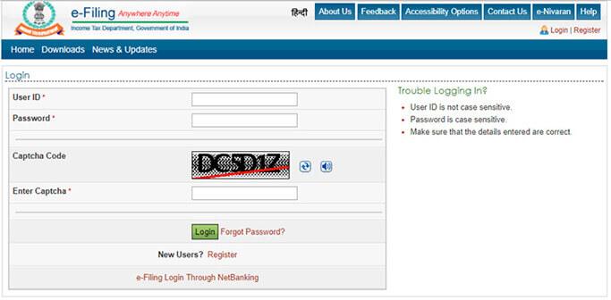 Login to e-filing