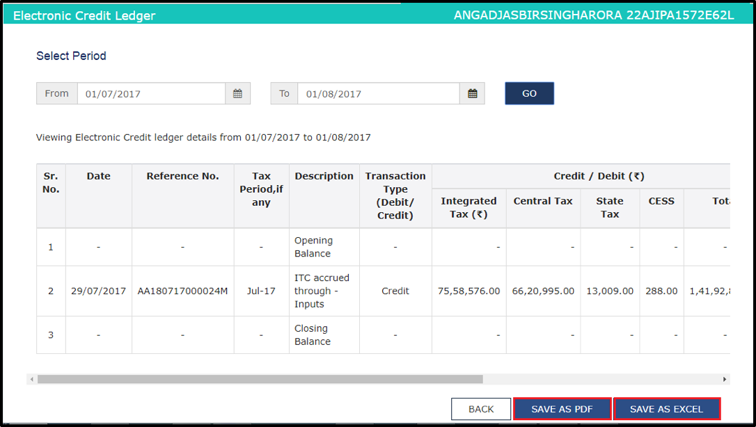 How to See Electronic Credit Ledgers in GST portal