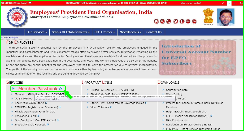 Employee Provident Fund Organization PF balance