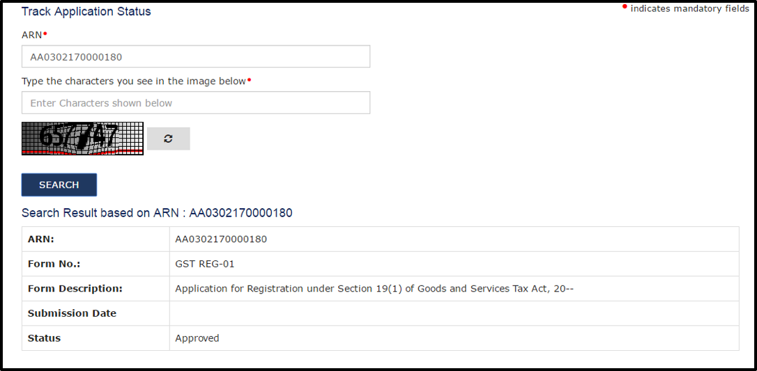 GST registration application