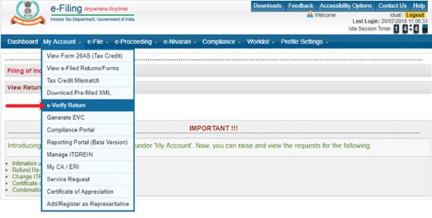 ITR e verification
