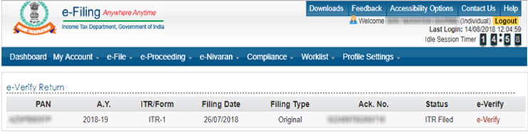 "Step 2: Now you'll see the list of ITR(s) filed as shown in the screen below. Here click on ""e-Verify"" button."