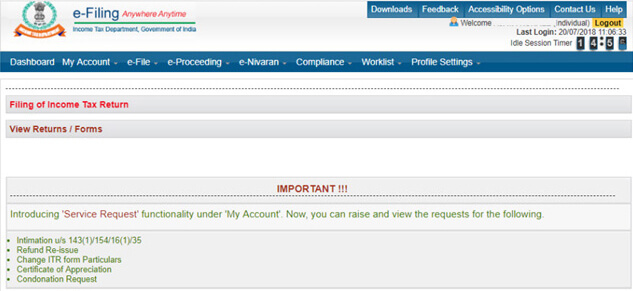 Yes Bank Net Banking ITR E-verify