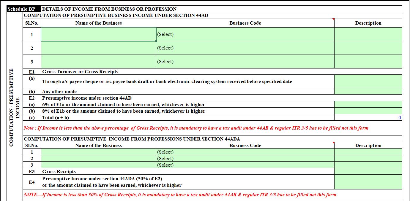 Schedule BP of ITR 4